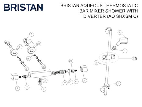 Bristan Aqueous thermostatic bar mixer shower with diverter (AQ SHXSM C) spares breakdown diagram