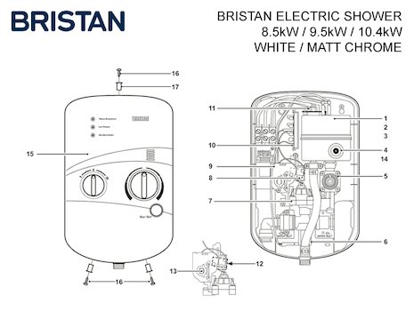 Bristan electric shower spares breakdown diagram