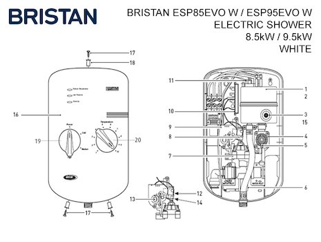 Bristan electric shower (ESP85EVO W / ESP95EVO W) spares breakdown diagram