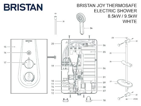 Bristan Joy ThermoSafe electric shower spares breakdown diagram