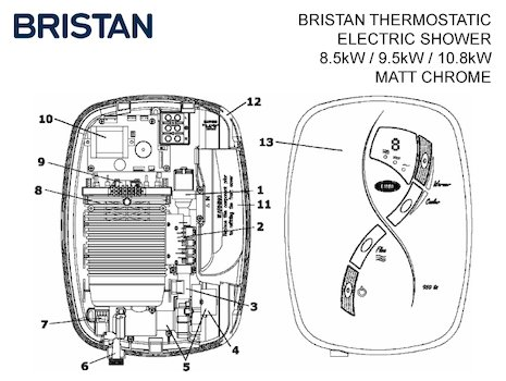 Bristan thermostatic electric shower spares breakdown diagram
