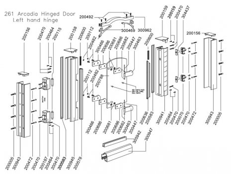 Daryl Arcadia 261 Hinged door spares breakdown diagram