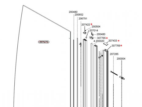 Daryl Aroco Sail bath screen top half view spares breakdown diagram