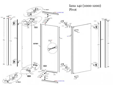 Daryl Iana 142   1000-1200mm spares breakdown diagram