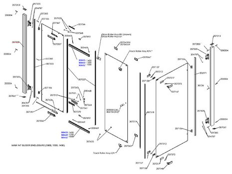 Daryl Iana 147 Sliding door spares breakdown diagram