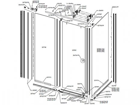 Daryl Indigo 648 sliding enclosure spares breakdown diagram