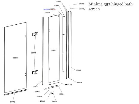 Daryl Minima 352 Hinged bath screen spares breakdown diagram