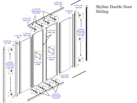 Daryl Skyline Double sliding door spares breakdown diagram