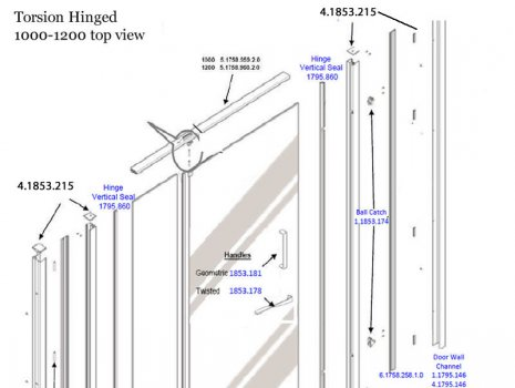 Daryl Torsion hinged door 1000 top half spares breakdown diagram