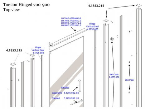 Daryl Torsion hinged door 700-900 top half spares breakdown diagram