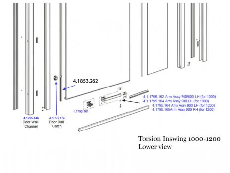 Daryl Torsion inswing 1000 -1200  lower view spares breakdown diagram