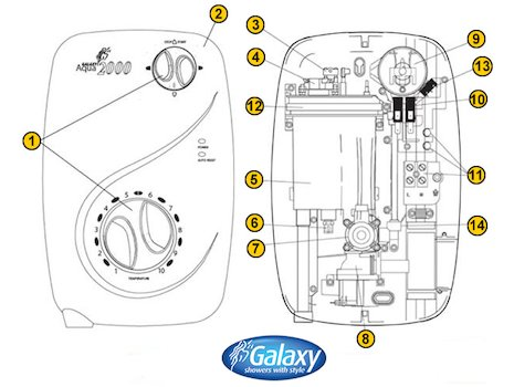 Galaxy Aqua 2000 (Aqua 2000) shower spares breakdown diagram