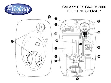 Galaxy Designa DS3000 Electric Shower (DS3000) spares breakdown diagram