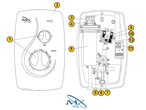 Galaxy/MX Duo LXi (Duo LXi) shower spares breakdown diagram