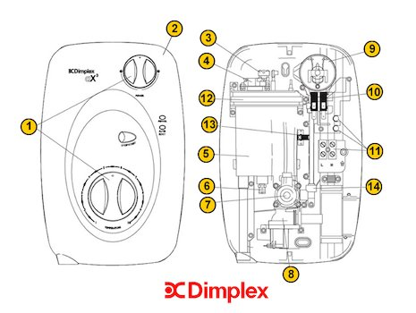 Glen Dimplex AX3 (AX3) spares breakdown diagram