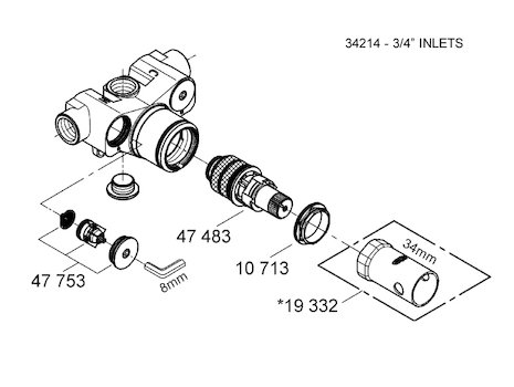 "Grohe 3/4"" inlets mixing valve spares (34214 000) spares breakdown diagram"