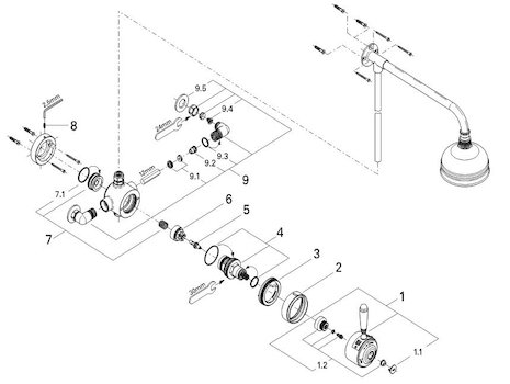 Grohe Avensys Traditional single control exposed (34044 000) spares breakdown diagram