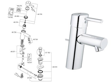 "Grohe Concetto basin mixer 1/2"" S-Size (32202 10L) spares breakdown diagram"