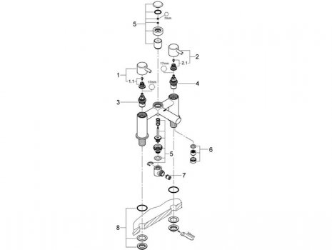 Grohe Concetto two handle bath shower mixer (25109 000) spares breakdown diagram