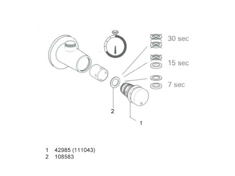 Grohe Contropress time flow shower valve (36185 000) spares breakdown diagram