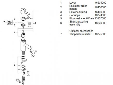 "Grohe Essence basin mixer tap 1/2"" S-Size (34294 000) spares breakdown diagram"