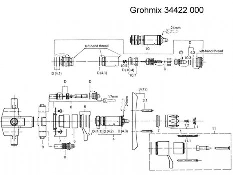 "Grohe Grohmix 1/2"" mixing valve (34422 000) spares breakdown diagram"