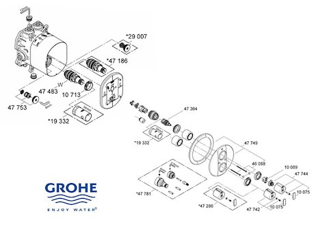 Grohe Grohtherm 2000  - 19355 000 (19355 000) spares breakdown diagram