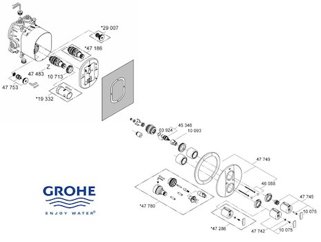 Grohe Grohtherm  2000  - 19354 000 (19354 000) spares breakdown diagram