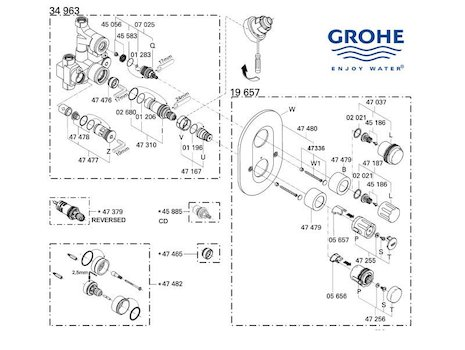 Grohe Grohtherm Auto 2000  - 19657 000 (19657 000) spares breakdown diagram