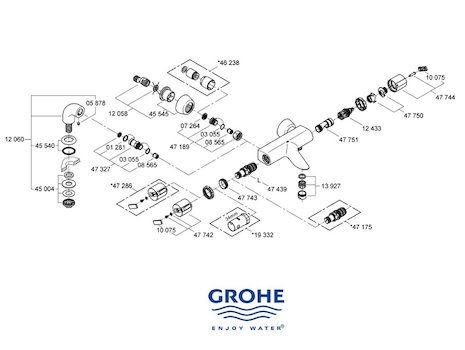 Grohe Grohtherm Auto 2000 bar mixer shower (34174 000) spares breakdown diagram