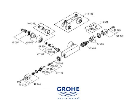 Grohe Grohtherm Auto 2000 bar mixer shower (34216 000) spares breakdown diagram