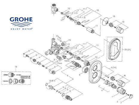 Shower And Tub Plumbing Schematics in addition 100000117 besides Delta Single Handle Shower Faucet Parts additionally American Standard Shower Valve Parts moreover Grohe Shower. on shower faucet diverter valve diagram