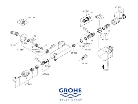 Grohe Grohtherm Auto 2000 bar mixer shower (34650 000) spares breakdown diagram