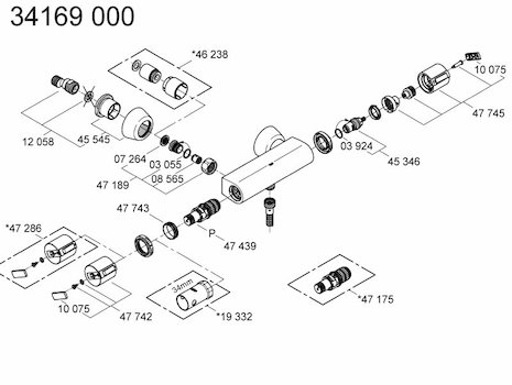 Grohe Grohtherm Auto 2000 bar mixer shower (34169 000) spares breakdown diagram