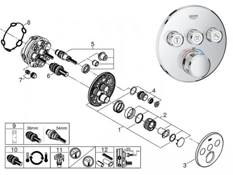 Grohe Grohtherm SmartControl with 3 valves (29121 000) spares breakdown diagram