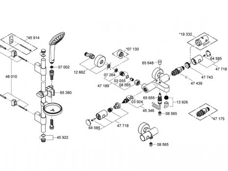 Grohe Grotherm 1000 Cosmopolitan bath shower mixer without unions (34323 000) spares breakdown diagram