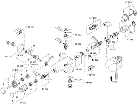 Grohe Grotherm Auto 2000 - 34357 bath/shower mixer (34357 000) spares breakdown diagram