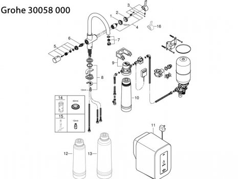 Grohe Red Duo kitchen mixer and single boiler (3 litres) (30058 000) spares breakdown diagram