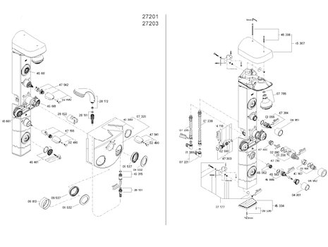 Grohe Aquatower 3000 shower spares (27203 000) spares breakdown diagram