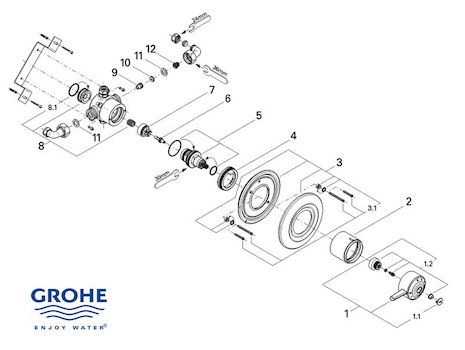 Grohe Avensys Single concealed - 34041 IL0 (34041 IL0) spares breakdown diagram