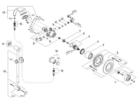 Grohe Avensys Single Control Thermostatic (34036 000) spares breakdown diagram