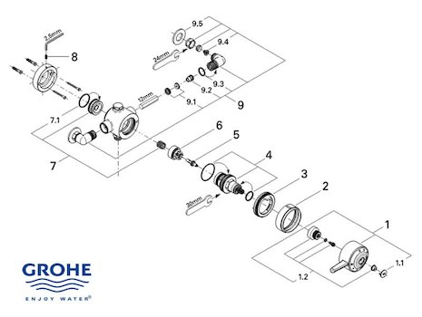 Grohe Avensys Single exposed - 34038 IL0 (34038 IL0) spares breakdown diagram