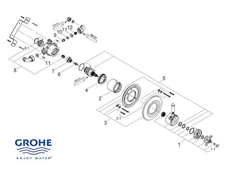 Grohe Avensys Traditional concealed - 34114 IL0 (34114 IL0) spares breakdown diagram