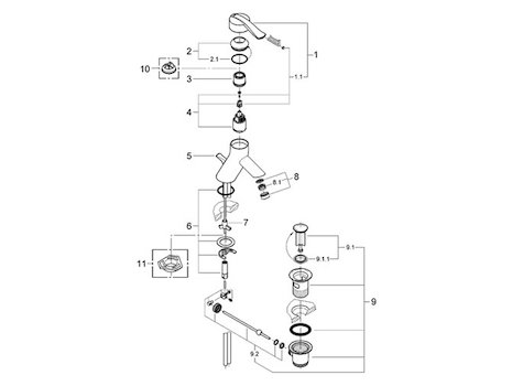 Grohe Ectos Mono Basin Mixer Tap (33180 IP0) spares breakdown diagram