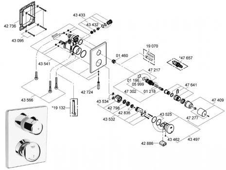 Grohe Eurodisc SE recessed shower valve self closing (36247 000) spares breakdown diagram