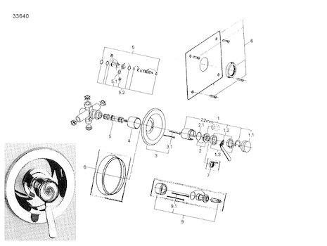 Grohe Euromix Manual Shower Valve (33640 000) spares breakdown diagram