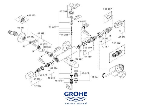 Grohe Grohtherm Auto 1000 bar mixer shower (34336 000) spares breakdown diagram