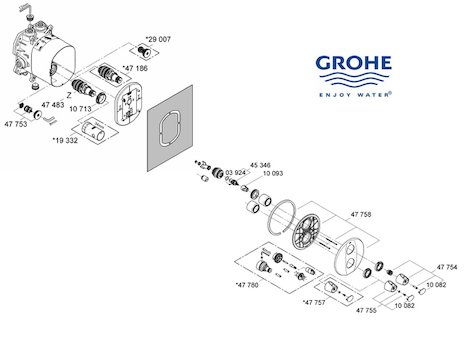 Grohe Grohtherm Auto 3000 (19359 000) spares breakdown diagram