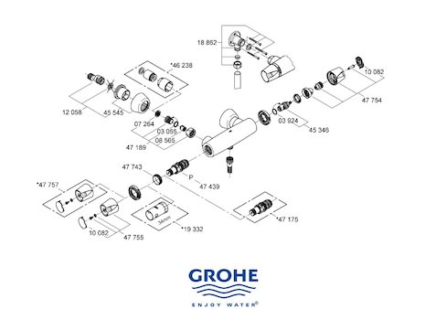 Grohe thermostatic 1 2 compact cartridge assembly grohe for Grohe grohtherm 1000 c