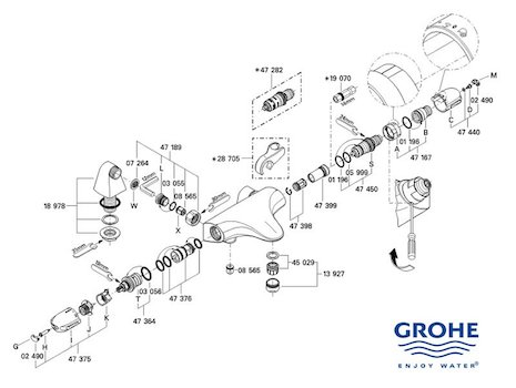 Grohe Grohtherm Auto 3000 bar mixer shower (34479 000) spares breakdown diagram